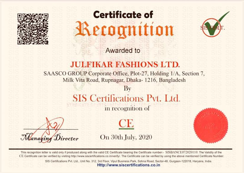 Recognition Awarded to Julfikar Fashions Ltd. by SIS Certification Pvt. Ltd.